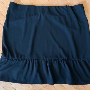 NWT Roz & Ali Size 3X Black Ruffle Hem Skirt